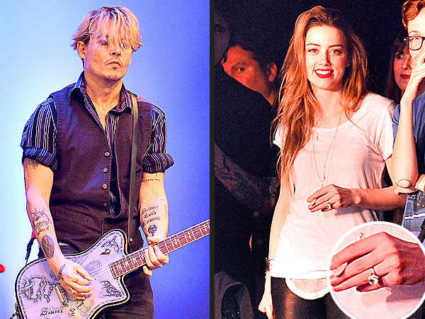 Amber Heard Flashes Engagement Ring at Johnny Depp's Charity Rock Show