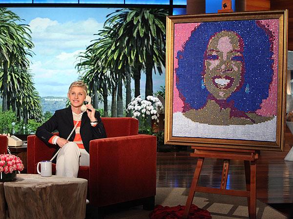 Ellen DeGeneres's Birthday Gift to Oprah Winfrey: a Sequined Portrait