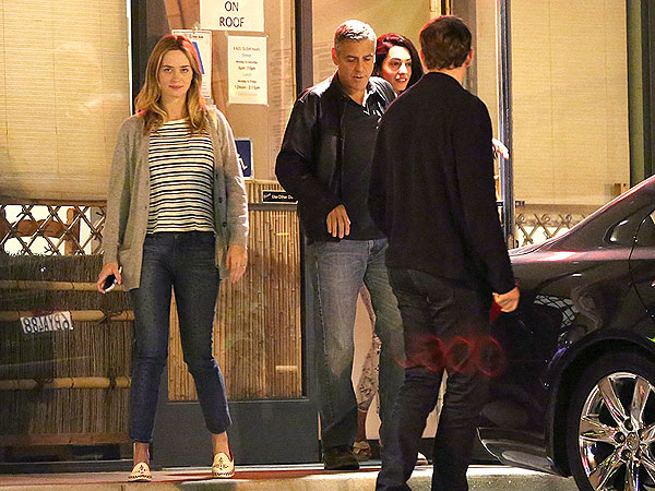 George Clooney and Amal Alamuddin Double Date with John Krasinski and Emily Blunt