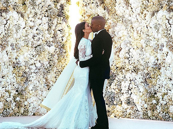 Instagram record: Kim and Kanye Wedding Kiss Photo