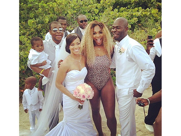 Serena Williams Crashes a Wedding in Leopard-Print Swimsuit