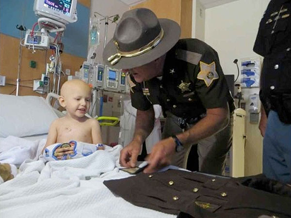 Wyatt Schmaltz Indiana Toddler Battling Cancer Is Sworn in as Sheriff's Deputy