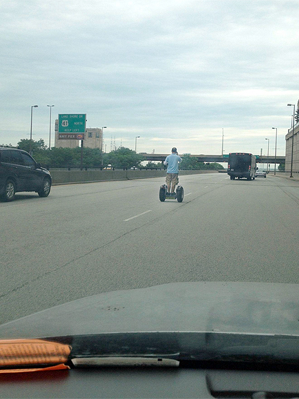 Man Takes Segway on Lake Shore Drive in Chicago