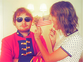Ed Sheeran Wears a Red Coat to Taylor Swift's Fourth of July Party Because 'He Can't Let It Go'