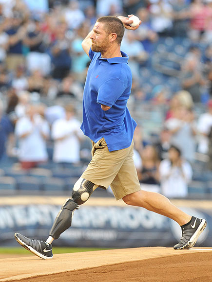 Noah Galloway Throws Out First Pitch at Yankees vs. Red Sox Game