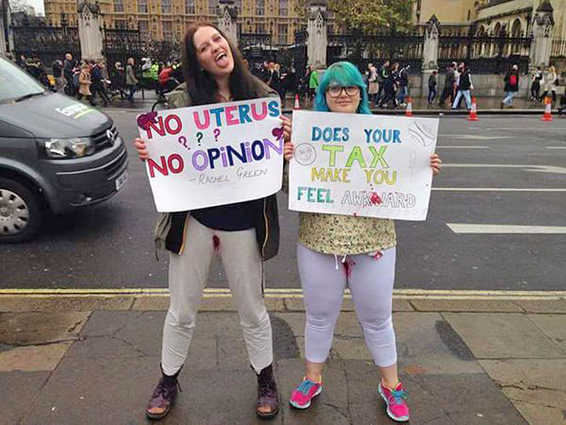 Women Protesting The Uks Tampon Tax By Free Bleeding In