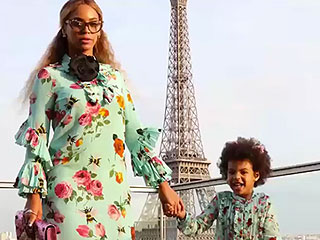 Mommy and Me! Beyoncé and Blue Sport Matching Floral Dresses While Posing in Paris