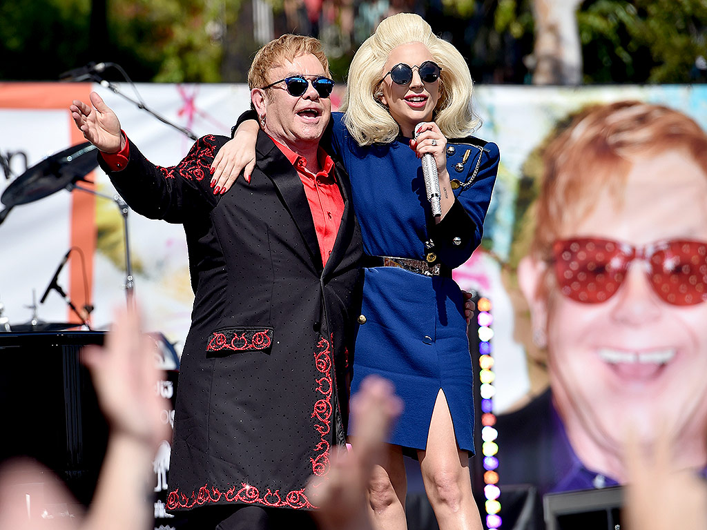 Lady Gaga Appears at Elton John's L.A. Concert at Tower Records