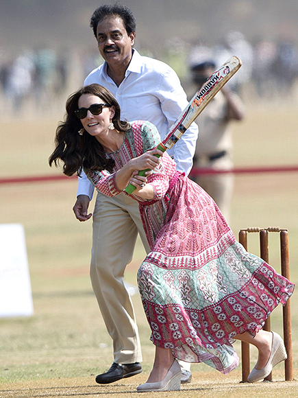 Princess Kate Plays Cricket in Sky-High Wedges