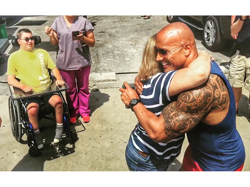 Dwayne the Rock Johnson Meets with Special Needs Fan on Baywatch Set