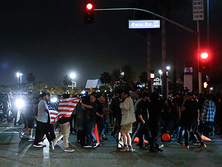 Anti-Trump Protest Intensifies in Orange County as Roads are Blocked, Police Window Smashed