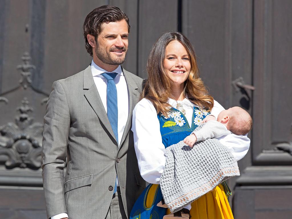 Princess sofia and prince carl philip show off 7 week old for Julian alexander wedding dresses