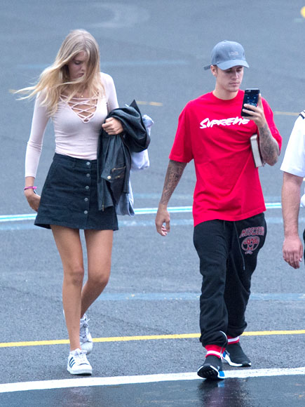 Justin Bieber Spends Time with Model Bronte Blampied