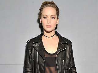 Jennifer Lawrence Rocks Leather Jacket and Jeans at Dior Paris Fashion Week Show