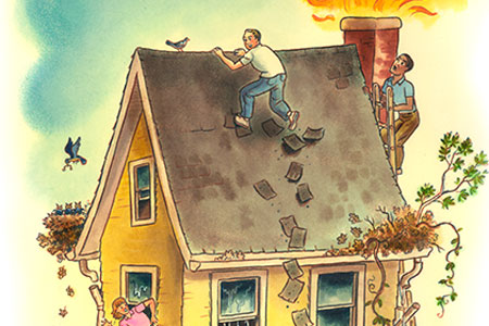 cartoon illustration of many things comically wrong with a house