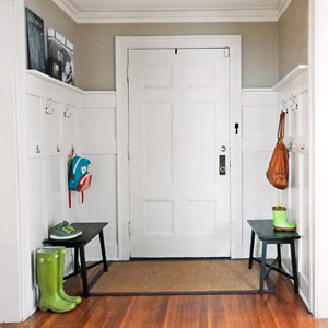budget redo tidy foyer with wainscoting and hooks after