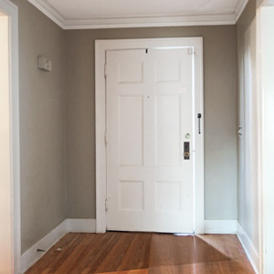 budget redo tidy foyer with wainscoting and hooks before