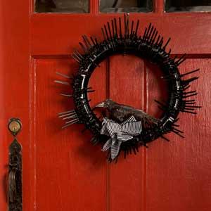 black halloween gothic wreath on front door