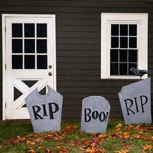 halloween ghostly gravestone yard decoration made of rigid foam insulation