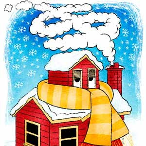 illustration of freezing house wrapped in a scarf