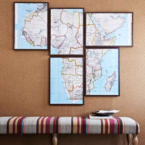 map framed in separate pieces as wall art, easy upgrade