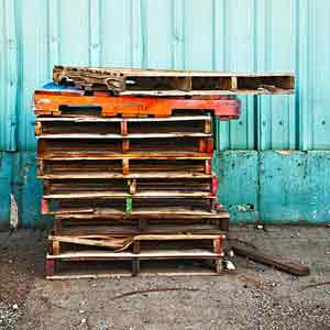 stack of wood shipping pallets