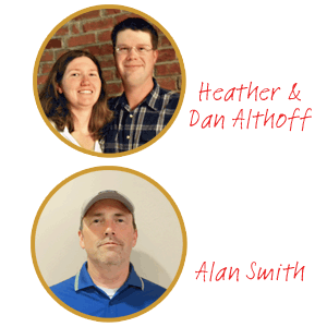 portraits of Heather and Dan Althoff, and Alan Smith