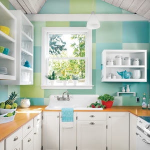 paint idea for checkered walls in kitchen