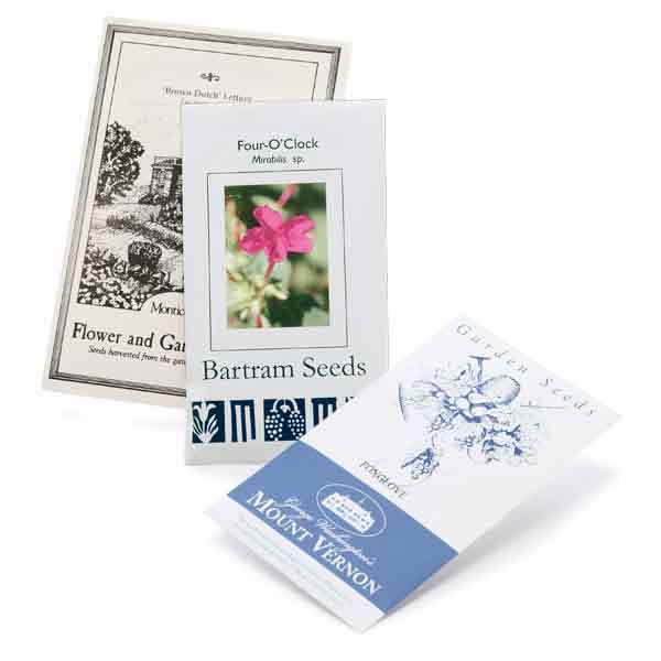 seed packets from colonial nurseries