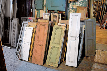 wooden interior shutters in an architectural salvage warehouse