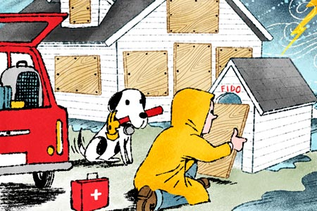 colorful illustration of a person in a rain coat kneeling down to place a rectangular piece of plywood across a dog house door, while a dog sits nearby with a hammer it it's mouth. The small house behind them already has the windows covered