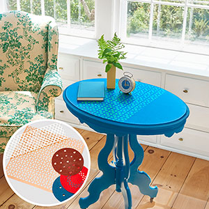 stenciled side table with inset of leftover stencils