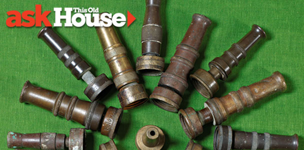 a group of classic hose nozzles displayed in a radiating ring on a green background, around a single nozzle at the center