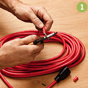 1. Cut off the old plug, split and splice the jacket, and strip insulation from the end of each wire.