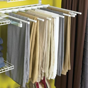 pants hanging in closet