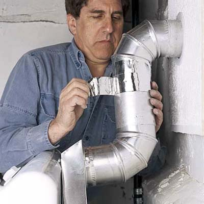 Sealing outdoor dryer vent ducts
