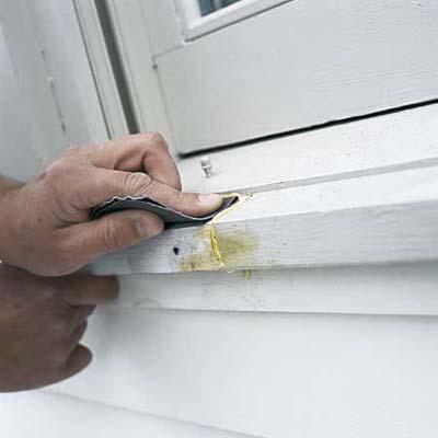 dutchman, rotted window trim, glue