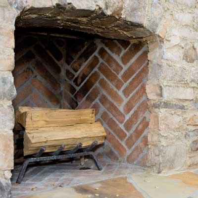 fireplace with firebrick