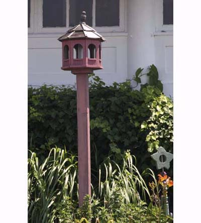 red gazebo bird feeder