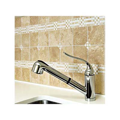Kohler laundry sink with limestone backsplash
