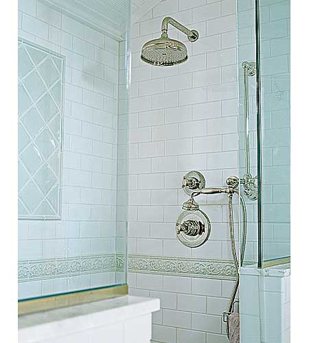 shower with old-world style fixtures in renovated Georgian's master bath