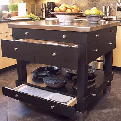 island with storage drawers