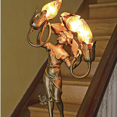 metal light fixture on the stairs