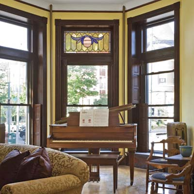 window overlooks piano