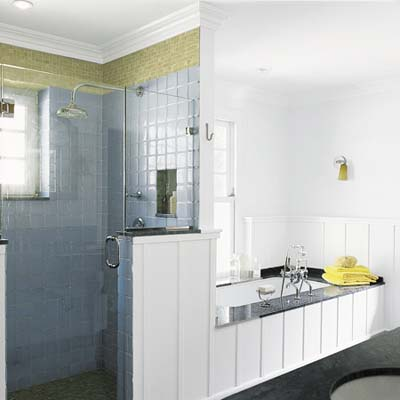 wide bath with shower and tub with plenty of surface area