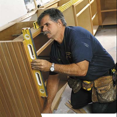 Tom silva's tricks for installing cabinets. Photo: David Carmack thisoldhouse.com