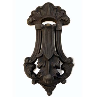 powder coated matte black finished knocker common to Gothic homes