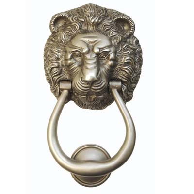 hand finished lion head shaped door knocker