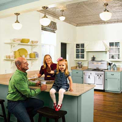 kitchen remodel from an 1850s cottage with couple and young daughter