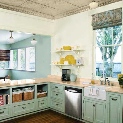 remodeled 1850s cottage kitchen with open shelving